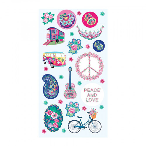 Peace & Love - Puffy Stickers