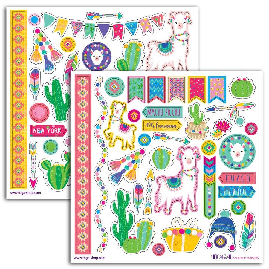 Planche À Découper Humoristique stickers oh lama - 15 x 15 cm - 2 planches