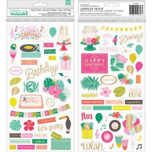 Stickers en chipboard Confetti Wishes