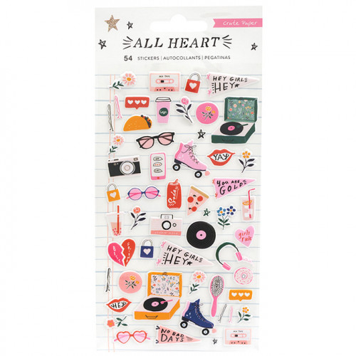 All Heart Puffy Stickers - 54 pcs