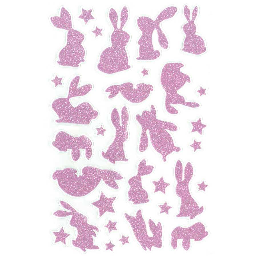 Glitty Stickers Lapins - rose / jaune - 65 pcs