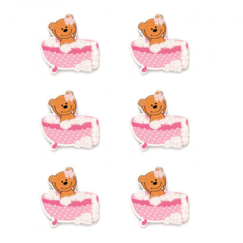 Stickers en bois - Ours dans baignoire rose - 3,5 x 3,5 cm - 6 pcs