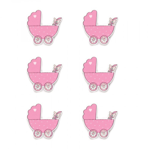 Stickers en bois - Landau rose - 3,5 x 3,5 cm - 6 pcs