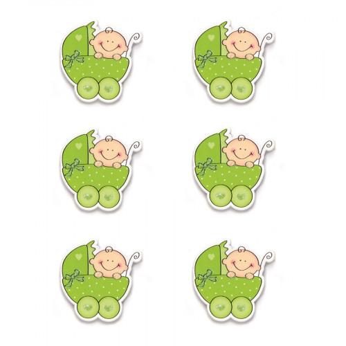 Stickers en bois - Bébé dans landau vert - 3,5 x 3,5 cm - 6 pcs