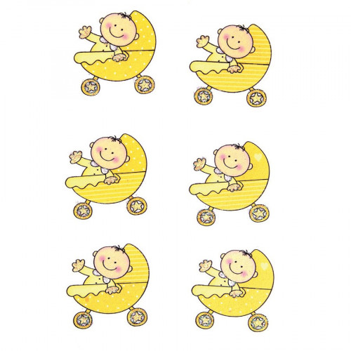 Stickers en bois - Bébé dans landau jaune - 3,5 x 3,3 cm - 6 pcs