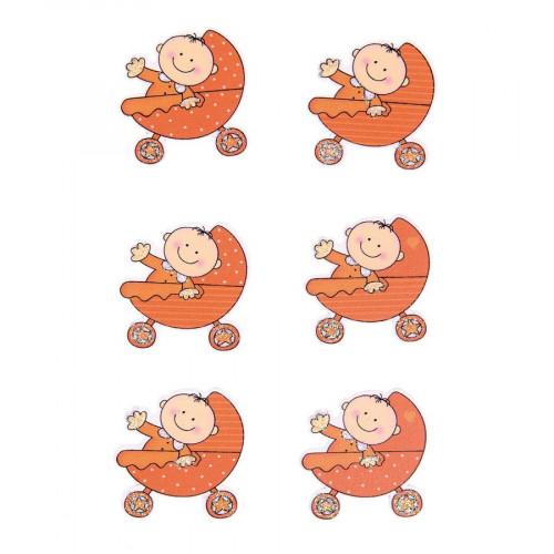 Stickers en bois - Bébé dans landau orange - 3,5 x 3,3 cm - 6 pcs