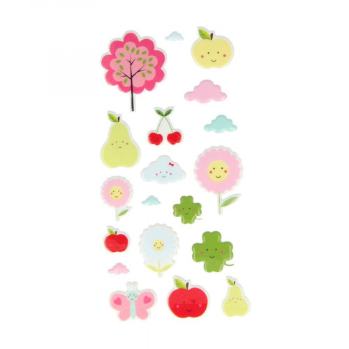 19 stickers Puffies - Fruits