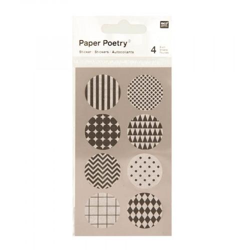 Stickers en papier Washi - Noir et blanc - 4 planches