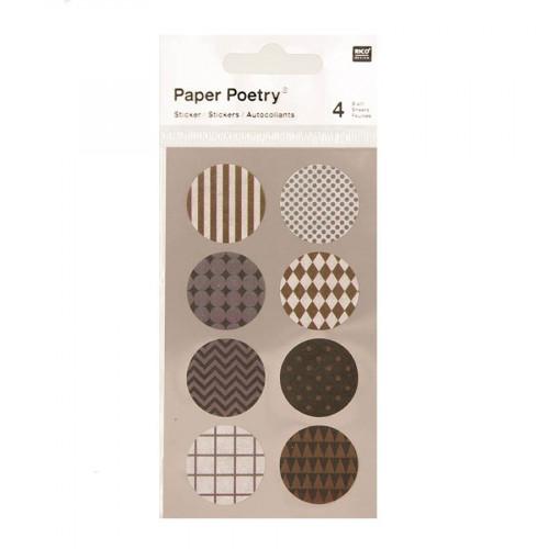 Stickers en papier Washi - Argent et or - 4 planches