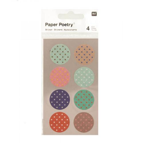 Stickers en papier Washi - Ronds à pois - 4 planches