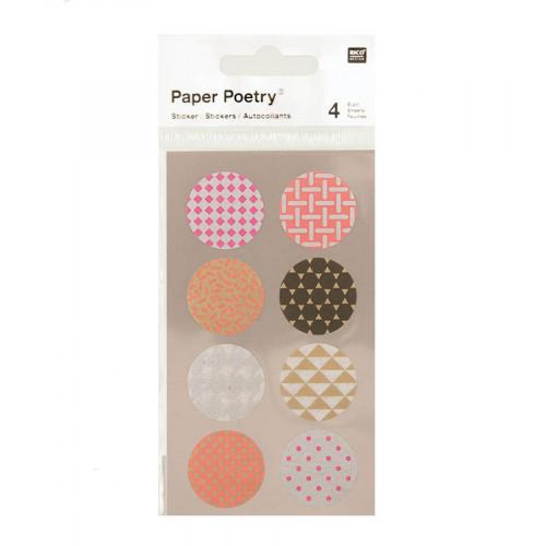 Stickers en papier Washi - Ronds fluo - 4 planches