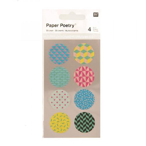 Stickers en papier Washi - Ronds 90s - 4 planches