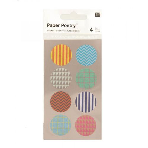 Stickers en papier Washi - Ronds à motifs - 4 planches