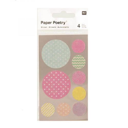 Stickers en papier Washi - Ronds pastel - 4 planches
