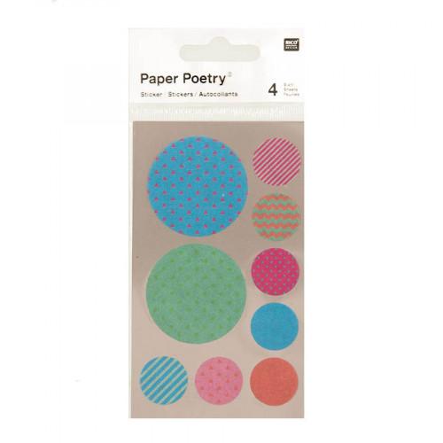 Stickers en papier Washi - Ronds multicolores - 4 planches