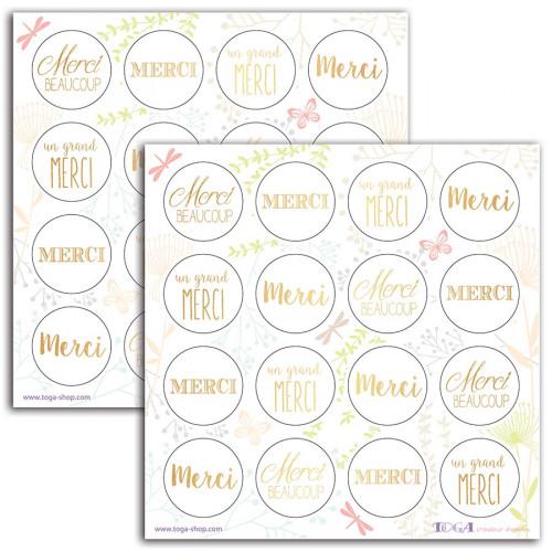 Merci - or - 2 planches de stickers fantaisie - 15 x 15 cm