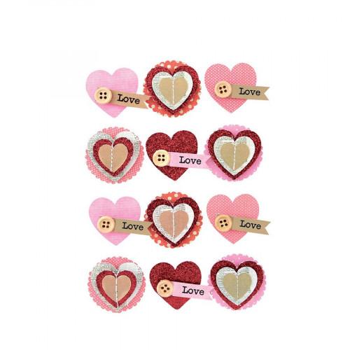 Stickers 3D - Cœur - 12 pièces