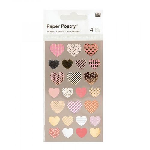 Stickers - Cœurs métallisés - 4 planches