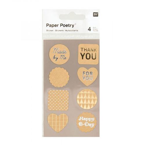 Stickers - Etiquettes métallisées - Kraft - 4 planches