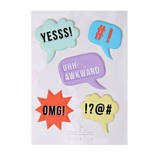 Stickers - Relief - Bulles conversations - 5 pcs