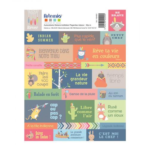 Totem - Planche de texte - Stickers - 52 pcs