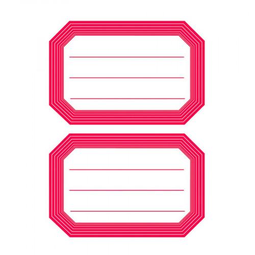 Etiquettes autocollantes - bord rouge - 12 pcs