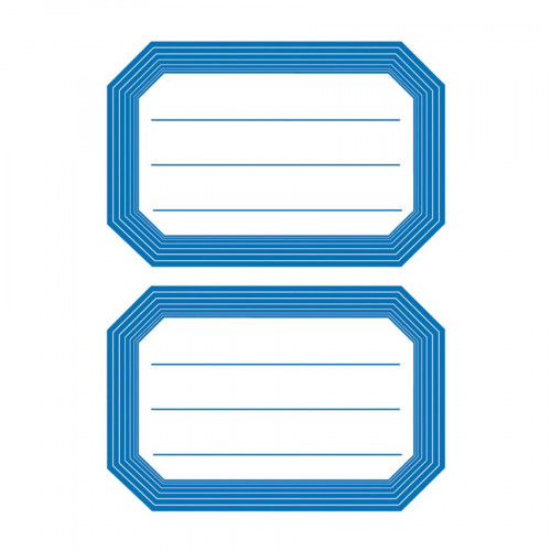 Etiquettes autocollantes - bord bleu - 12 pcs