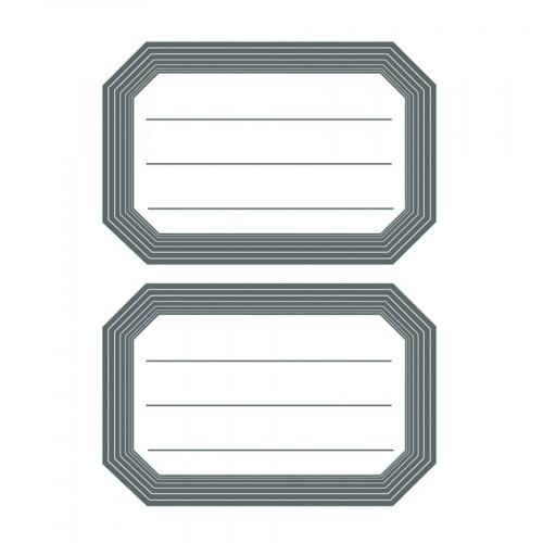 Etiquettes autocollantes - bord gris - 12 pcs