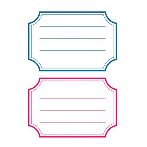 Etiquettes autocollantes - bord bleu et rouge - 12 pcs