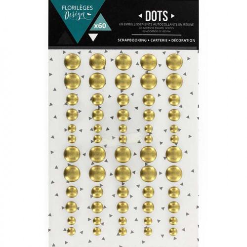 Points mats autocollants Dots or - 60 pcs
