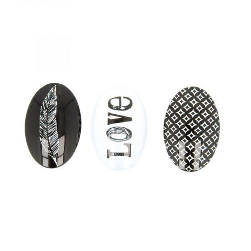Cabochons en verre Black & White - 6 pcs