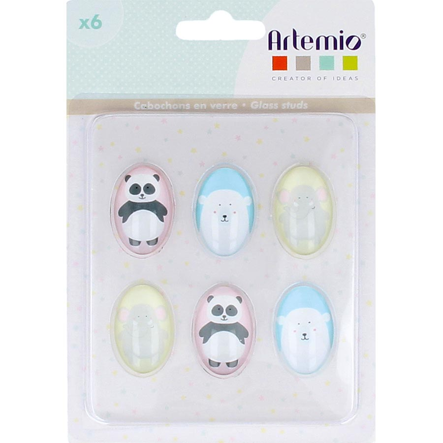 Cabochons en verre Adorable - 6 pcs
