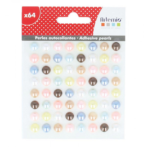 Demi-Perles autocollantes Adorable - 8 mm - 64 pcs