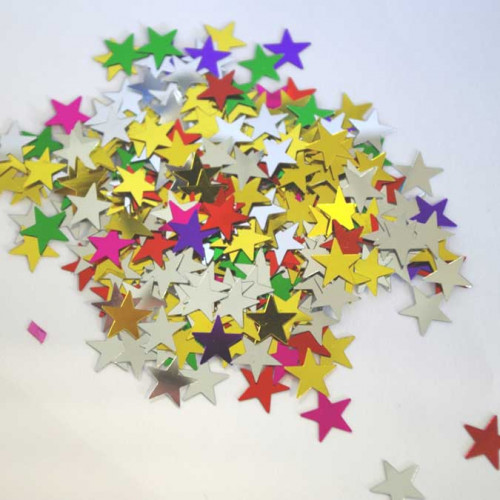 Assortiment de paillettes - Etoiles multicolores - 10 mm - 50 g