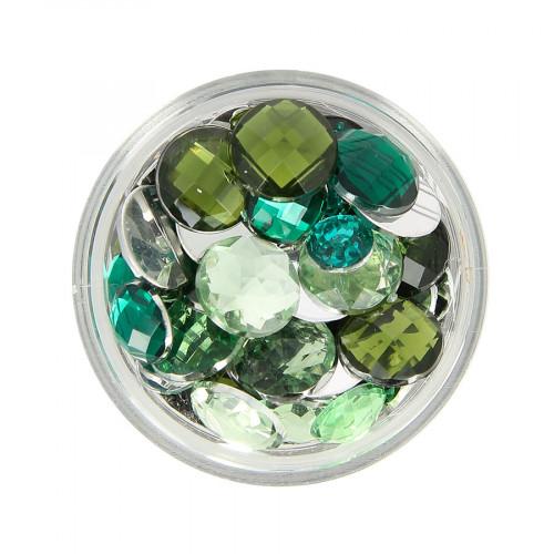 Boîte de strass à coller en résine - Vert clair et foncé - Taille aléatoire Ø de 4 à 10 mm