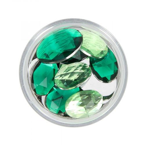 Boîte de strass à coller en résine - Vert clair et foncé - Taille aléatoire de 14 à 18 mm