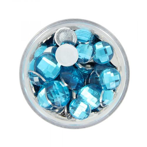 Boîte de strass à coller en résine - Bleu clair - Taille aléatoire Ø de 4 à 10 mm