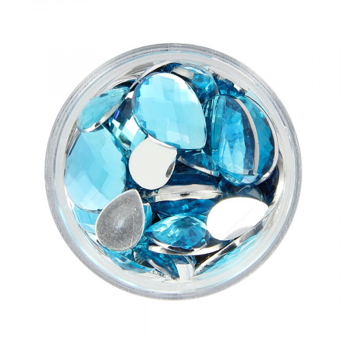 Boîte de strass à coller en résine - Bleu clair - Taille aléatoire de 10 à 15 mm