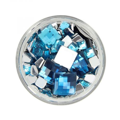 Boîte de strass à coller en résine - Bleu clair - Taille aléatoire de 5 à 10 mm