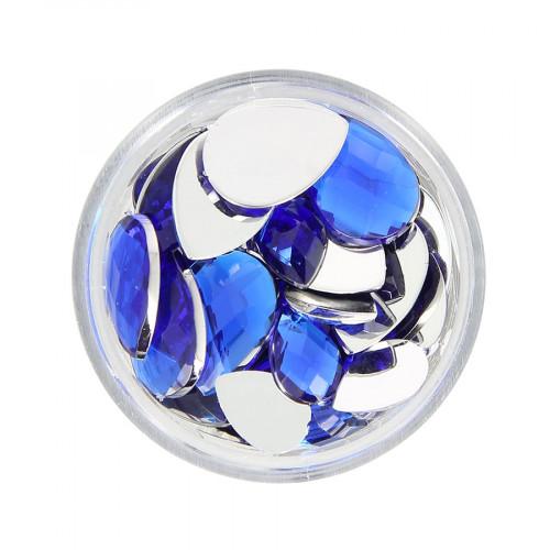 Boîte de strass à coller en résine - Bleu foncé - Taille aléatoire de 10 à 15 mm