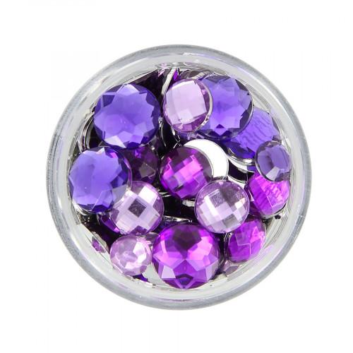 Boîte de strass à coller en résine - Violet clair et foncé - Taille aléatoire Ø de 4 à 10 mm