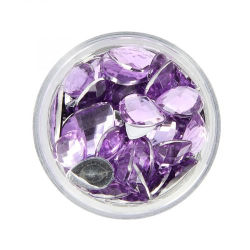 Boîte de strass à coller en résine - Violet - Taille aléatoire de 10 à 15 mm