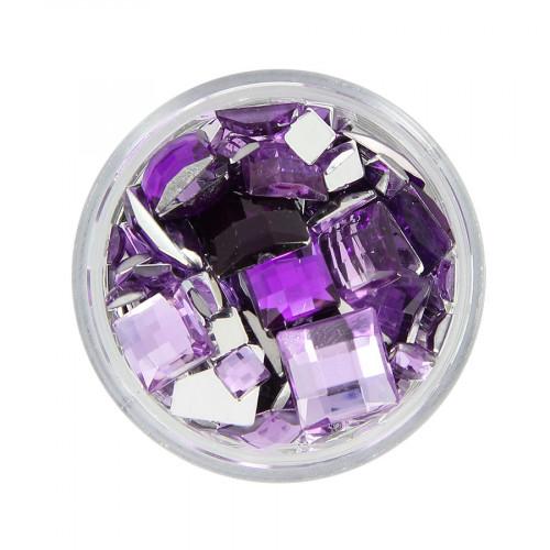 Boîte de strass à coller en résine - Violet clair et foncé - Taille aléatoire de 5 à 10 mm