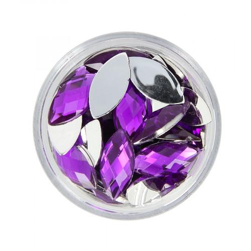 Boîte de strass à coller en résine - Violet - 15 x 7 mm