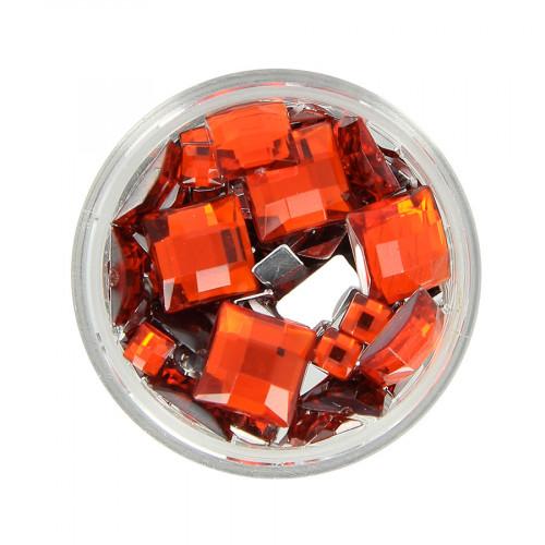 Boîte de strass à coller en résine - Rouge - Taille aléatoire de 5 à 10 mm