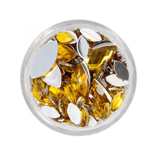 Boîte de strass à coller en résine - Jaune miel - Taille aléatoire de 9 à 15 mm