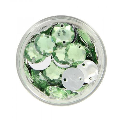 Boîte de strass à coudre en résine - Vert clair - Ø 10 mm