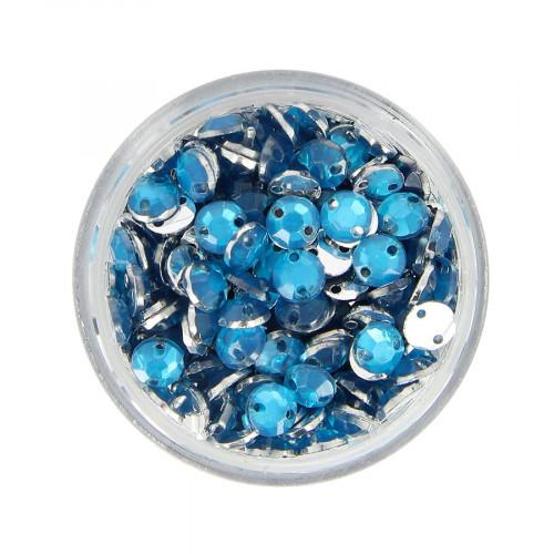 Boîte de strass à coudre en résine - Bleu ciel - Ø 5 mm
