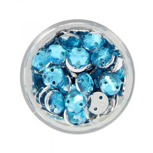 Boîte de strass à coudre en résine - Bleu ciel - Ø 8 mm