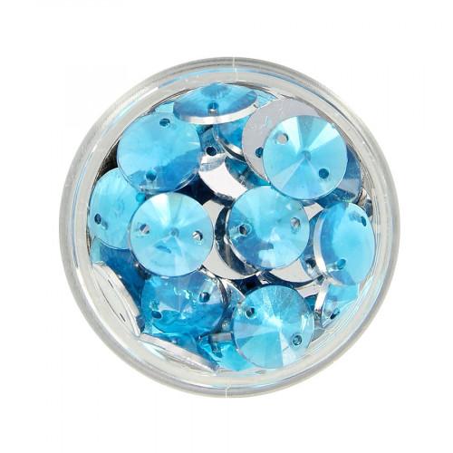 Boîte de strass à coudre en résine - Bleu ciel - Ø 10 mm